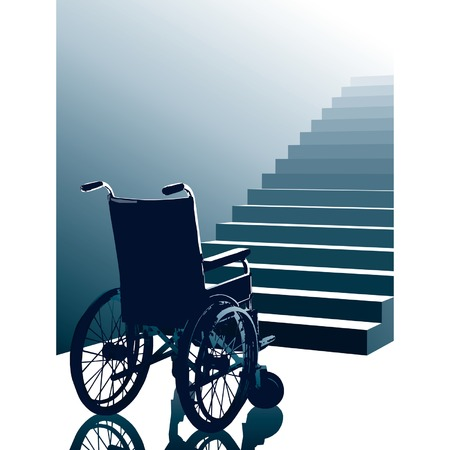 Empty wheel chair and stairs to the light, vector Illustration