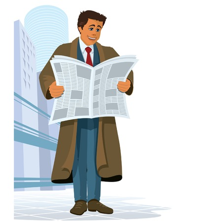 A businessman reading a newspaper Stock Vector - 1537934
