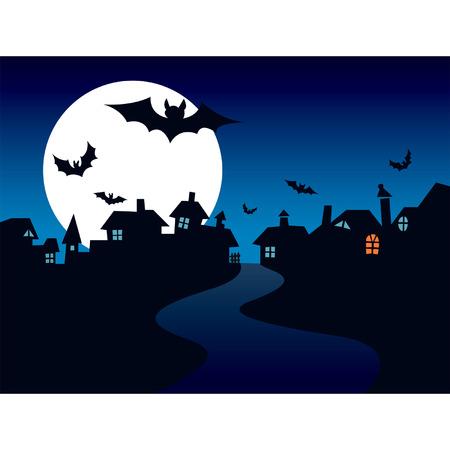 Halloween town, vector Vector