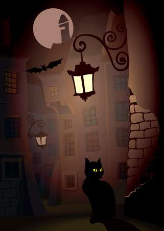 frightening: Demonic cat on a street, perfect Halloween illustration