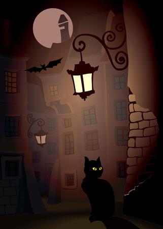 Demonic cat on a street, perfect Halloween illustration Stock Illustration - 1573139
