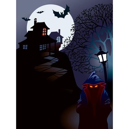 przerażający: Halloween domu doskonałą ilustracją dla Halloween wakacje