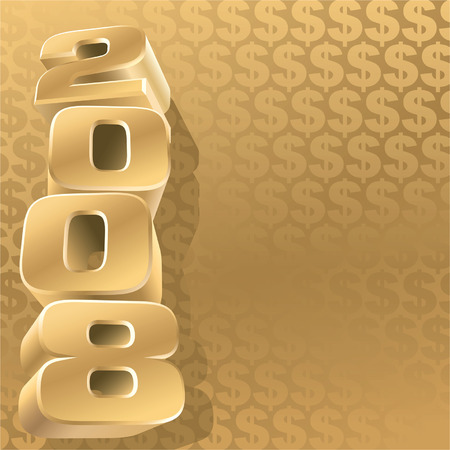 profit celebration: Gold 2008 and dollar background, vector