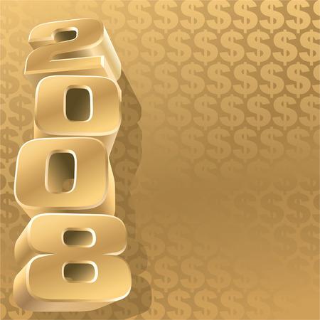 profit celebration: Gold 2008 and dollar background, vector