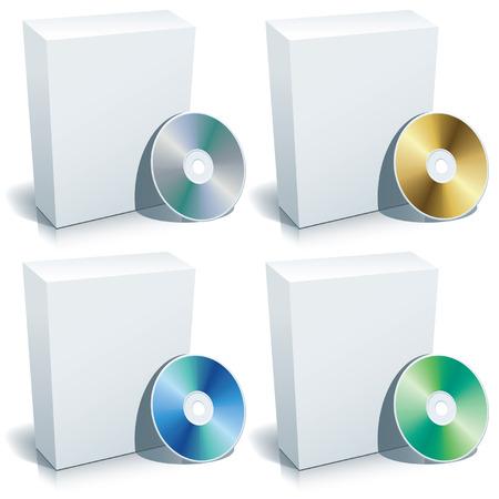 marca libros: Blank 3d caja con DVD, vector.