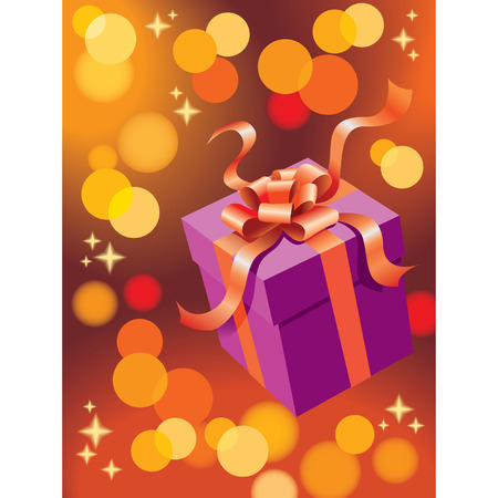 Christmas present with glowing lights vector