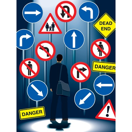 exclude: A businessman in front of road signs Illustration