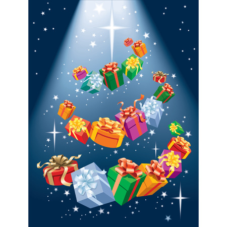 Magic Christmas tree, presents and shining stars Illustration