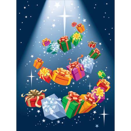Magic Christmas tree, presents and shining stars Illustration
