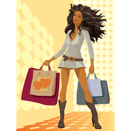 Vector illustration of a girl with shopping bags Vector
