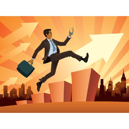to climb: Vector illustration of a young businessman in a hurry