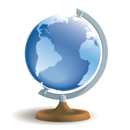 Vector illustration of a globe on white background. Vector