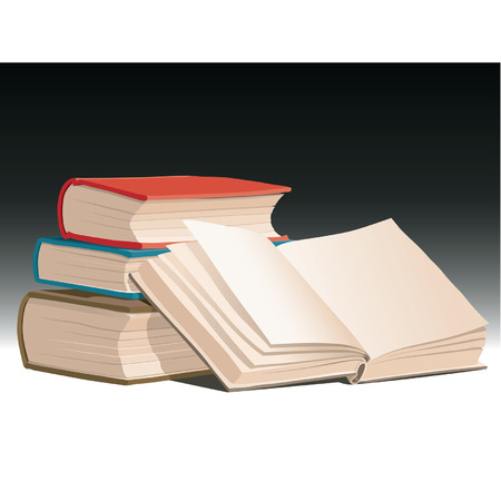 Pile of books with open one, vector Vector