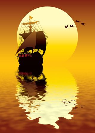 retro sunrise: Illustration of ancient ship sailing to the sun Stock Photo