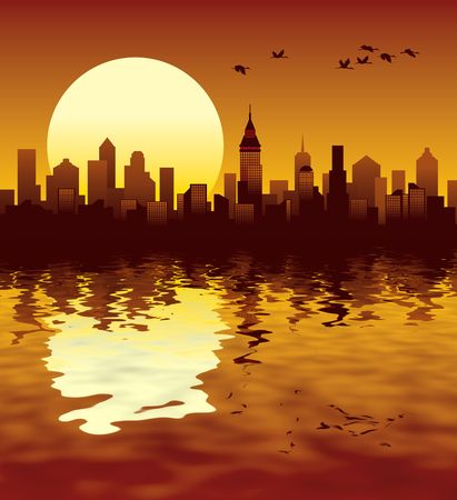 Sunset in a big modern city, illustration Stock Illustration - 2549100