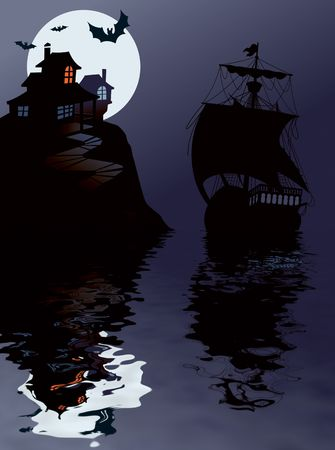 Sailing in Halloween night, perfect illustration for Halloween holiday illustration