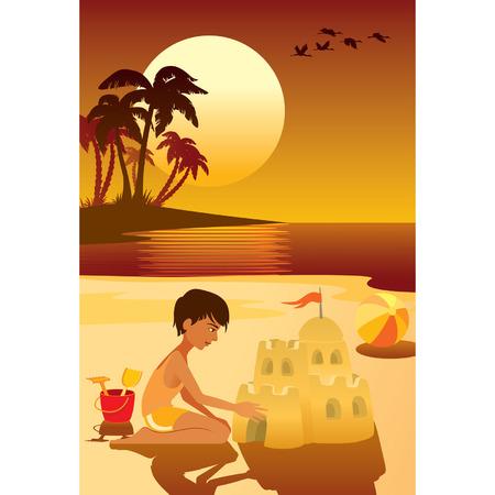 Tropical island, boy having fun at the beach. Vector