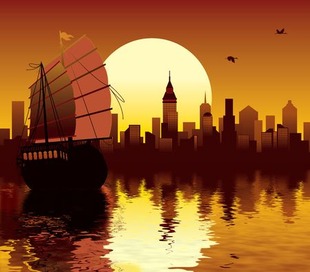 Illustration of oriental modern city and ancient ship sailing