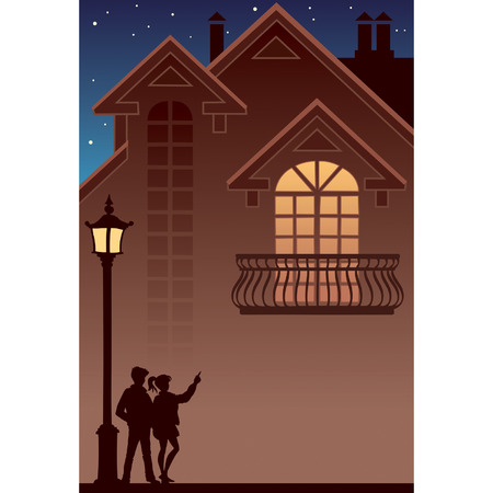 Two people and their own home Stock Vector - 2659800