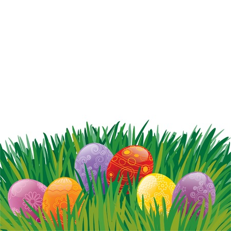 Easter painted eggs lying on the grass, vector Vector