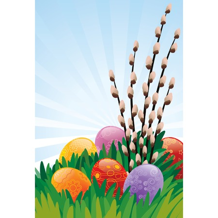 Easter painted eggs and pussy willow on the grass Vector