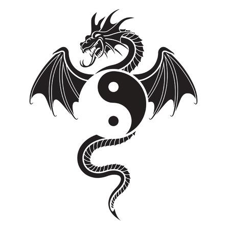 Flying Dragon hanging Yin Yang symbol Stock Vector - 2775960