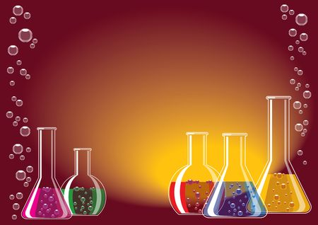 ampulla: Different coloured chemical substances in laboratory glasses Stock Photo