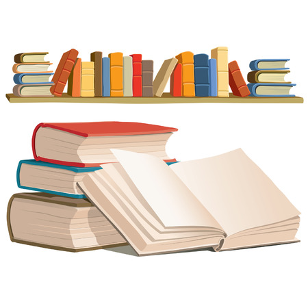 textbooks: Collection of colorful books on white background.