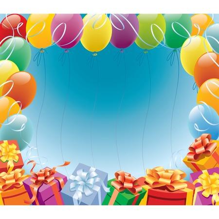 marco cumplea�os: Decoraci�n de los globos lista para el cumplea�os y el partido