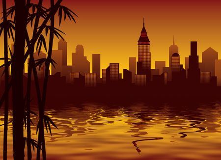 Sunset, bamboo forest and a big modern city photo