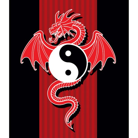 Flying Red Dragon hanging Yin Yang symbol. Vector