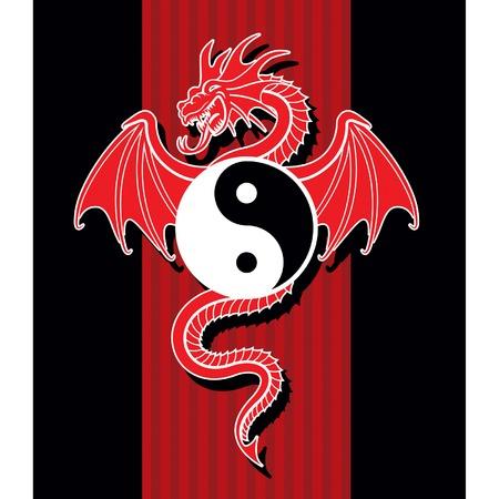 elemental: Flying Red Dragon hanging Yin Yang symbol.