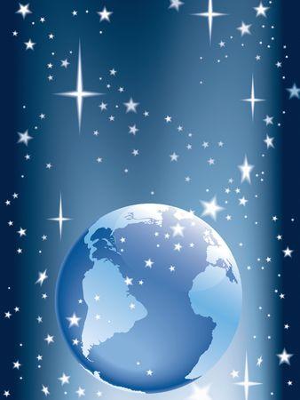Illustration of a globe and shining stars. illustration