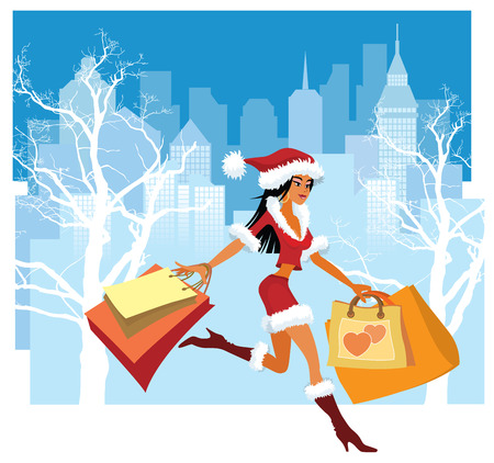 happy shopper: Vector illustration of a girl with shopping bags