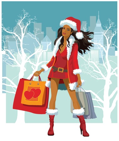 thrifty: Christmas shopping, illustration of a girl with shopping bags