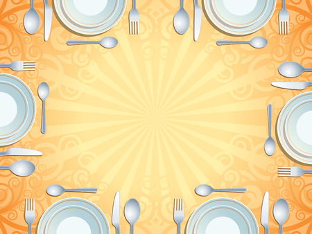 commercial kitchen: Place setting with plate, fork, spoon and knife