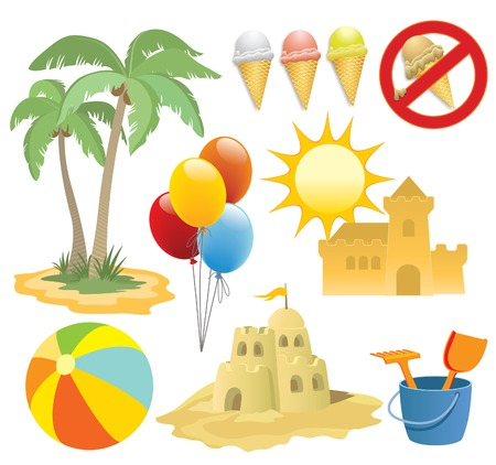 Have a fun at the beach, design elements Vector