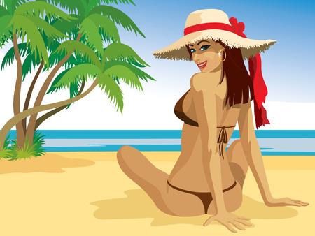 health resort: A beautiful girl sunbathing at the beach