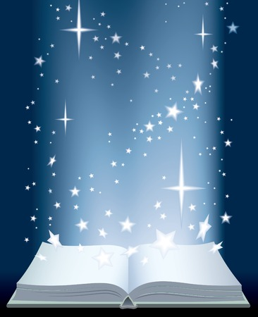 workbook: An opened magic book and shining stars