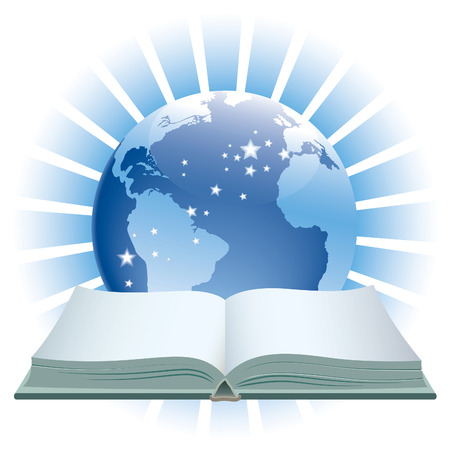 A book and globe on a blue background. Illustration