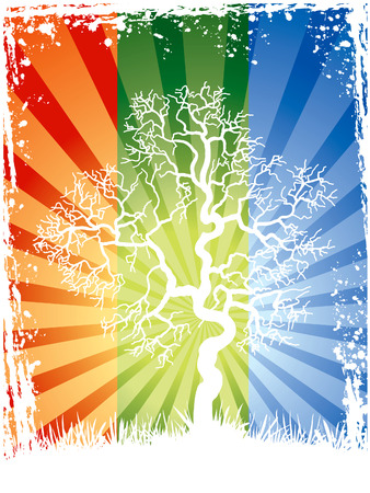 Abstract white tree on a colorful background Stock Vector - 3098369