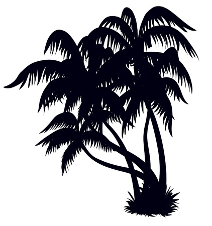 island clipart: Silhouette of palm trees on a beach, design element
