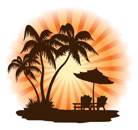 dusk: Summer landscape: sunset, palm, chairs and umbrella Illustration