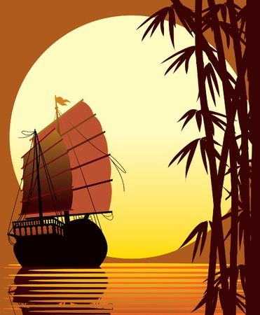 Sailing ship, bamboo forest, sea and sun