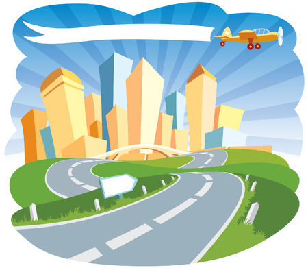 Road to a city center. Stock Vector - 3280117