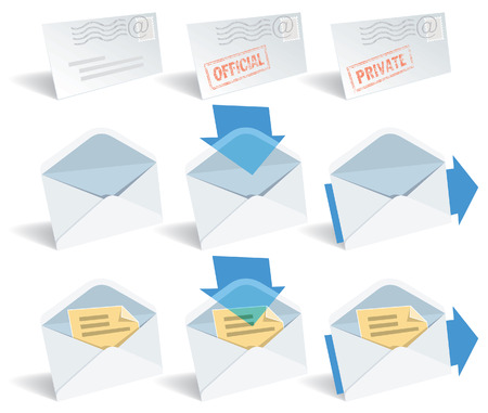 Classic envelope icon set, perfect for typical use. Illustration