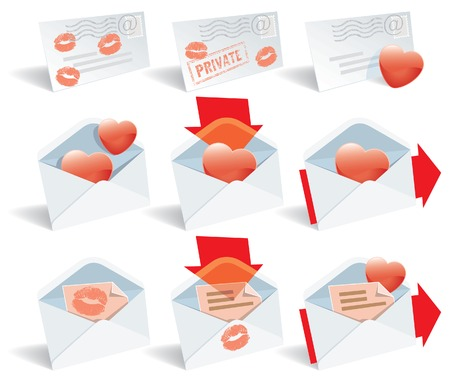 Love mail, vector icon set, envelope, hearts and lipstick print Vector