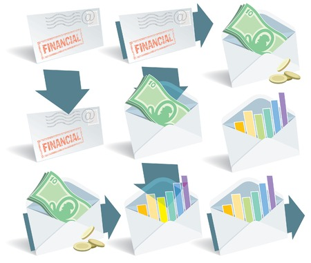 Financial email icon set, perfect for web use. Vector