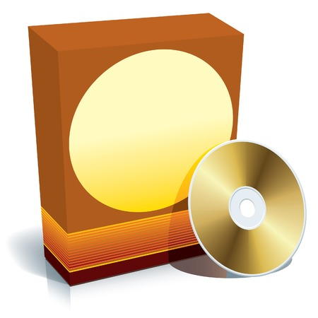 Red blank 3d box with CD, ready to use. Vector