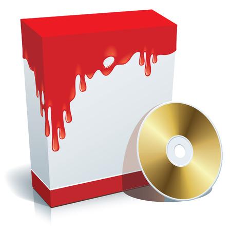 bloodshed: 3d casilla en blanco con fondo sangrienta y CD.  Vectores